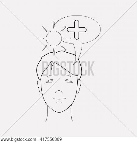 Think Positive Icon Line Element. Vector Illustration Of Think Positive Icon Line Isolated On Clean
