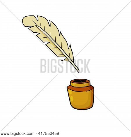 Quill Pen And Jar Of Ink. Vintage Feather. The Instrument Of Classical Poet. Cartoon Illustration