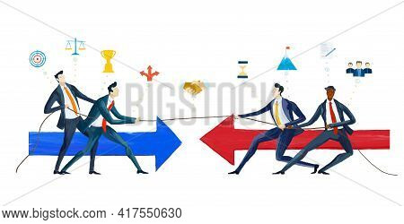Fighting Business People. Future Project, Developing Concept. Professional Competition.  Startup, Go