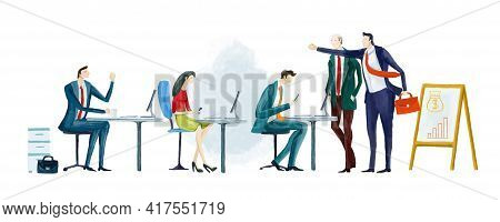 Business People Working In Office. Startup, Goal Thinking, Financial Services, Banking, Strategic Pl