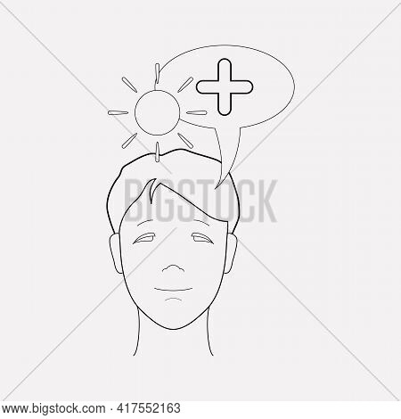 Think Positive Icon Line Element. Illustration Of Think Positive Icon Line Isolated On Clean Backgro