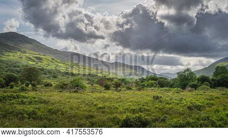 Uncultivated Green Meadows, Fields And Forest, Illuminated By Sunlight In Molls Gap, Macgillycuddys
