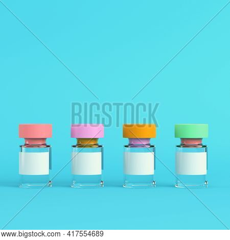 Vaccine On Bright Blue Background In Pastel Colors. Minimalism Concept. 3d Render