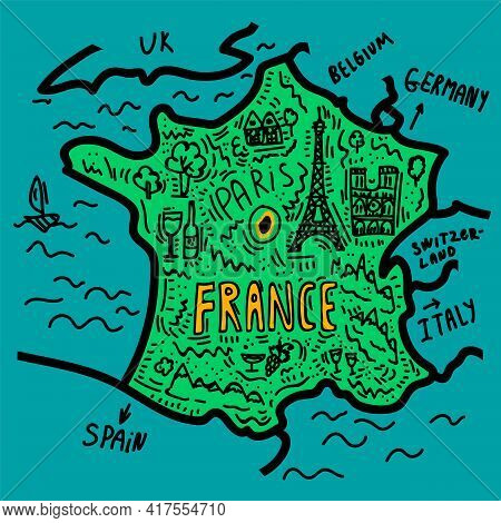 Overview Map Of Europe France. A Bright Map With Landmarks Of Tourist Trips. Poster Maps For Tourism