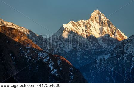 Panoramic View Of Mount Nanda Devi, One Of The Best Mounts In Indian Himalaya, Seen From Joshimath A