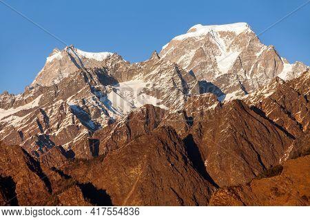 Himalaya, Evening Panoramic View Of Indian Himalayas, Great Himalayan Range, Uttarakhand India