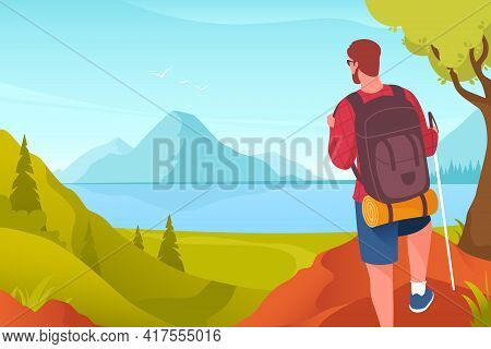 Hiking Vector Illustration. Man With A Backpack On The Background Of A Mountain Landscape. Male Hike