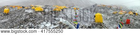 Mount Everest Base Camp, Tents And Prayer Flags, Nepal Himalayas Mountains