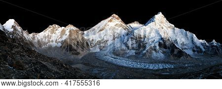 Nightly View Of Mount Everest Isolated On Night Sky Background, Lhotse And Nuptse From Mount Pumo Ri