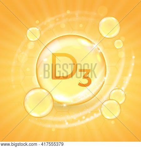 Vitamin D3 Supplement, Shiny Golden Oil Substance Capsule. Cholecalciferol Pill Droplet Design Templ