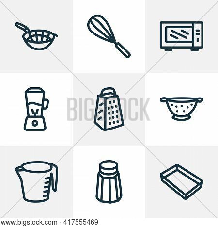 Dishware Icons Line Style Set With Baking Sheet, Colander, Microwave Beater Elements. Isolated Vecto