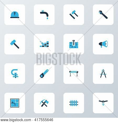 Industrial Icons Colored Set With Sawing, Bricklaying, Barrage And Other Brickwork Elements. Isolate