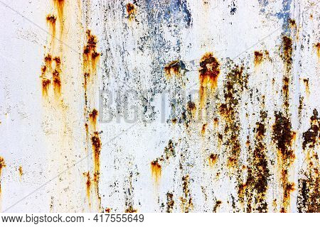 Metal Corrosion Process. Texture Of An Old Rusty Metal Sheet. The Process Of Rotting Steel.