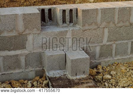 Masonry Walls Made Of Heavy Concrete Blocks. Stone Walls Of A Building From Hollow Concrete Blocks O