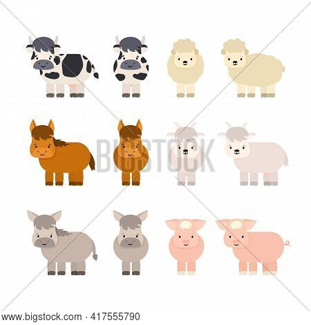 Set Of Farm Cute Cartoon Animals. Cow With Udder, Lamb, Horse, Goat, Donkey, Pig. Vector Isolated Il