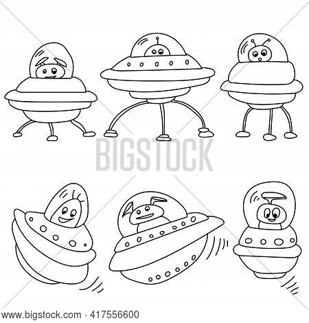 Aliens And Spaceships Outline Set, Coloring Page With Positive Extraterrestrial Characters Vector Il
