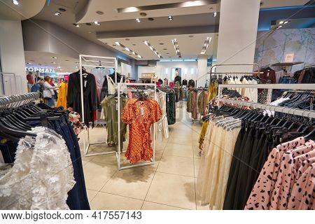 KUALA LUMPUR, MALAYSIA - CIRCA JANUARY, 2020: interior shot of Topshop store at Suria KLCC shopping mall in Kuala Lumpur.