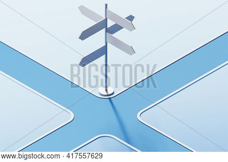 Road direction side in navigation concept - 3d rendering