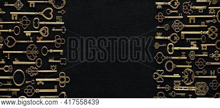Vintage victorian style golden skeleton keys. Concepts of keys to success, unlocking potential, or security solutions. With blank copy space.