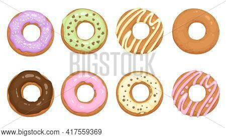 Donuts Glazed With Colorful Sugar And Chocolate Icing And Topped With Sprinkles Lying Isolated On Wh