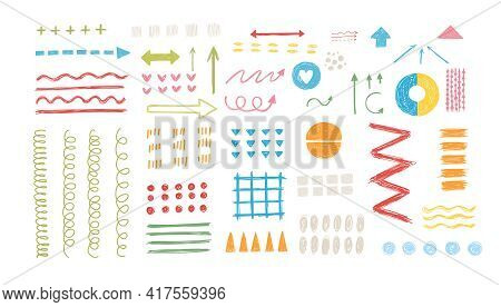 Various Sketchy Doodle Arrows, Direction Pointers Shapes And Objects. Freehand Colorful Lines, Curve
