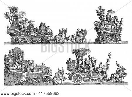 Sheet I: fourteenth, fifteenth and sixteenth float, vintage engraving.