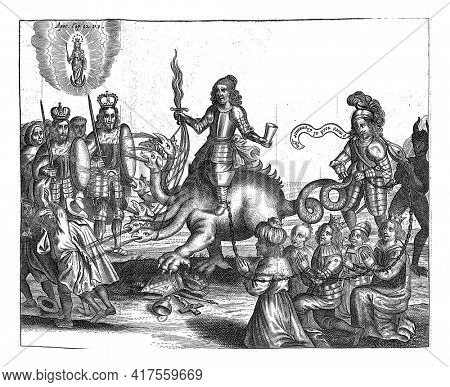 Cromwell as the harlot of Babylon seated on the seven-headed dragon threatens the Catholic monarchs Philip IV and Ferdinand III, vintage engraving.