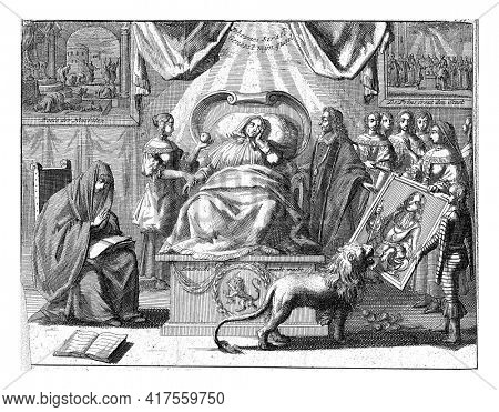 Allegory of the position of Willem III as savior of the fatherland. The Dutch Virgin sick in bed, vintage engraving.