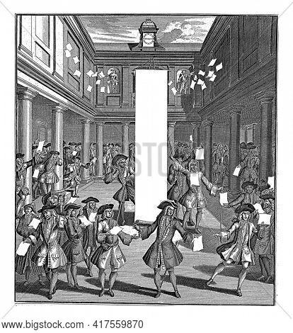 Desperate traders in the Amsterdam stock exchange, vintage engraving.