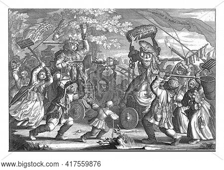 Struggle between the wind trade and impending poverty, 1720, vintage engraving.