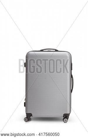 Studio shot of a silver metalic suitcase isolated on white background