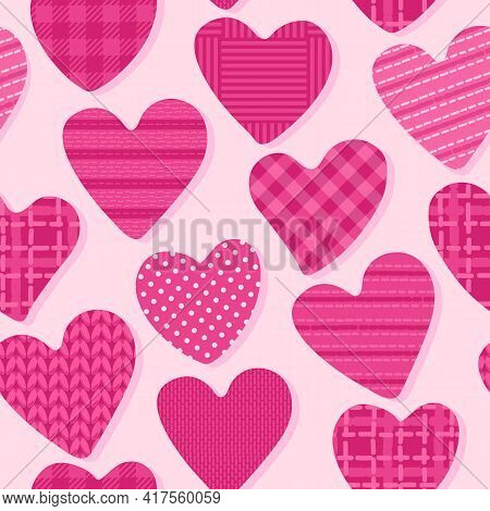Love Seamless Pattern With Heart. Shape With Checkered, Polka Dots, Striped Bright Color Texture. Gi