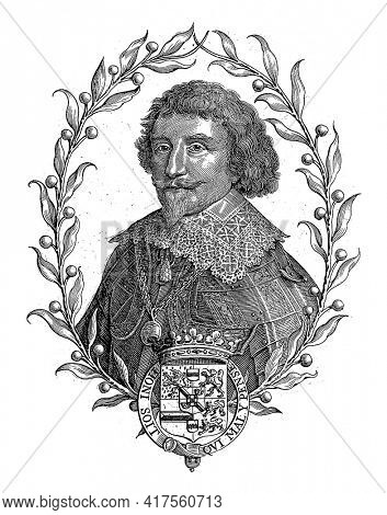 Portrait of Frederik Hendrik in an oval of orange branches. In the center of his coat of arms with a crown, decorated with the Garter and the motto of the Order of the Garter.