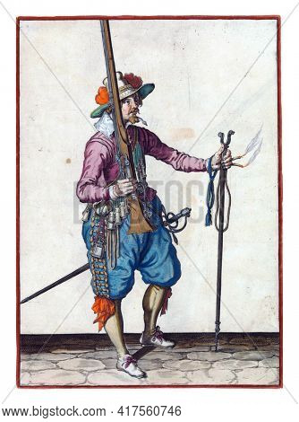 A soldier, full-length, to the right, holding a musket (a certain type of firearm) with his right hand, pointing the barrel up. In his outstretched left hand a burning fuse and a furket