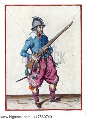A soldier, full-length, to the right, holding a rudder (a type of firearm) with his left hand by his right side. In his left hand, in addition to the rudder, also a burning fuse