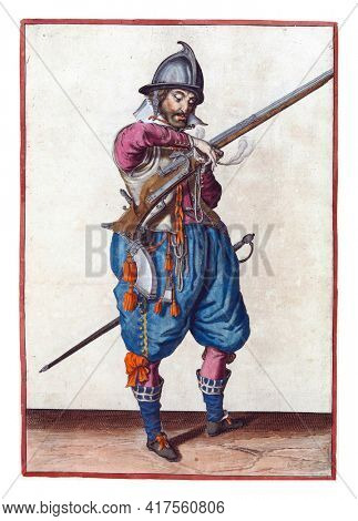 A soldier on guard, full-length, to the right, holding a rudder (a certain type of firearm) with his left hand. In his left hand, in addition to the rudder, also a burning fuse