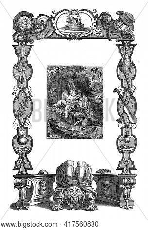 Shrove Tuesday Joy Wreath and Play, vintage engraving.