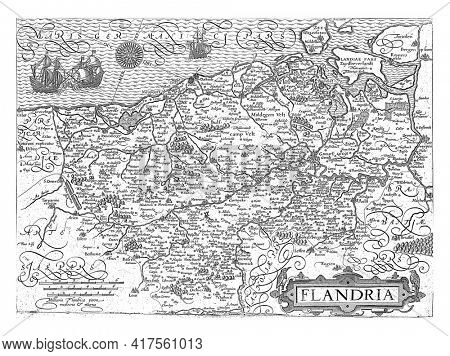 Map of Flanders, c. 1600, Pieter van der Keere, 1580 - 1604 Map of Flanders, with inscriptions and the title in cartouche in Latin, vintage engraving.
