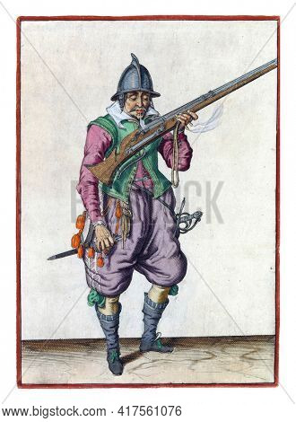 A soldier, full-length, to the right, holding a rudder (a certain type of firearm) to his mouth and blowing over the pan. In his left hand, in addition to the rudder, also a burning fuse
