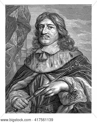 Portrait of Frederik Willem. A scepter in his hands. In the bottom margin are name and titles.