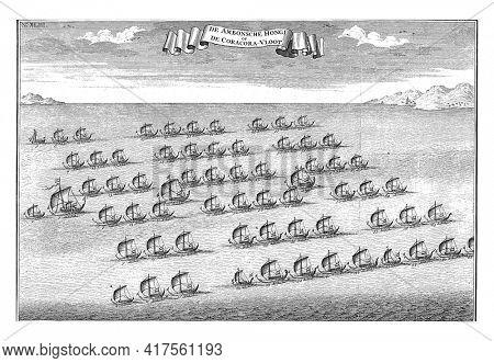 The Coracora Fleet, vintage engraved illustration
