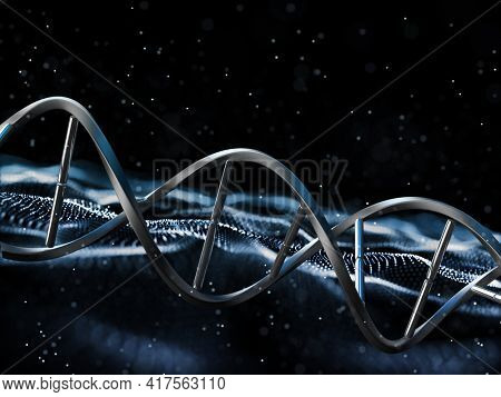 3D render of a medical background with DNA strand on particles design
