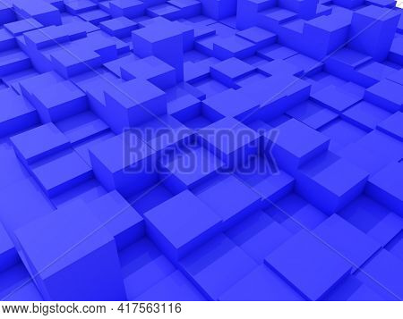 3D render of an abstract landscape with extruding cubes
