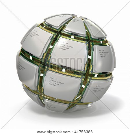 CPU. Sphere from computer's processors on white isolated background .3d