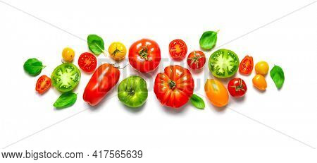 Fresh ripe tomatoes of different varieties with basil leaves isolated on white panoramic background. Applicable for kitchen glass back wall, splash back