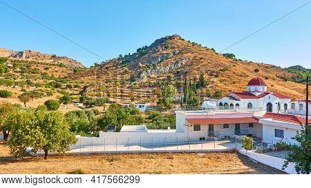 Aegina Island in Greece. Greek landscape with St Catherine nunnery