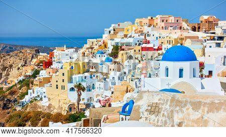 Santorini Island in Greece. Panoramic view of Oia town