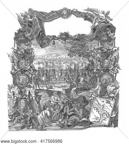 Submission of Naples to Charles III, vintage engraving.