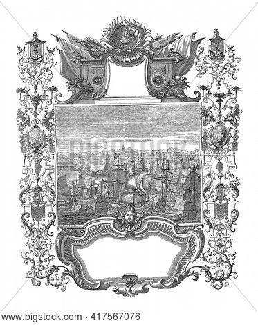 Arrival of King Charles III in Catalonia and his entry into Barcelona, vintage engraving.