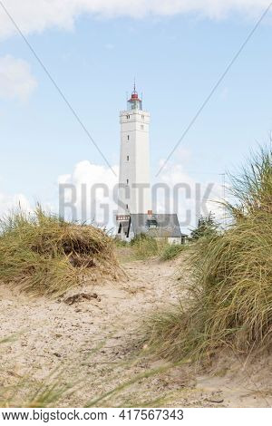 Lighthouse at Blavand, South Jutland, Denmark, view through  the dunes with defocused dune grass in foreground
